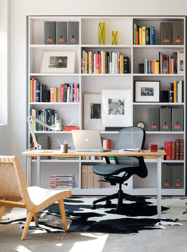 Chadwick Chair and armless #Risom Chair create a welcoming #homeoffice. #modernalways