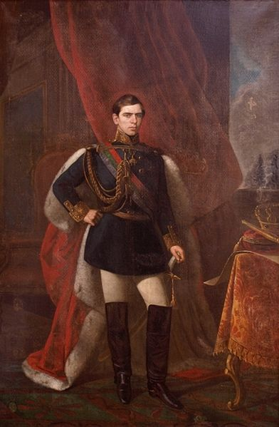 """Dom Pedro V (1837-61), nicknamed """"the Hopeful"""", was King of Portugal from 1853-61. He was the eldest son of Queen Maria II & her de jure uxoris co-monarch Ferdinand II & was born after his mother's accession. As heir apparent to the throne he was styled Prince Royal, & was also the 19th Duke of Braganza .  Pedro was a conscientious & hard-working monarch who, under the guidance of his father, sought radical modernisation of the Portuguese state & infrastructure."""