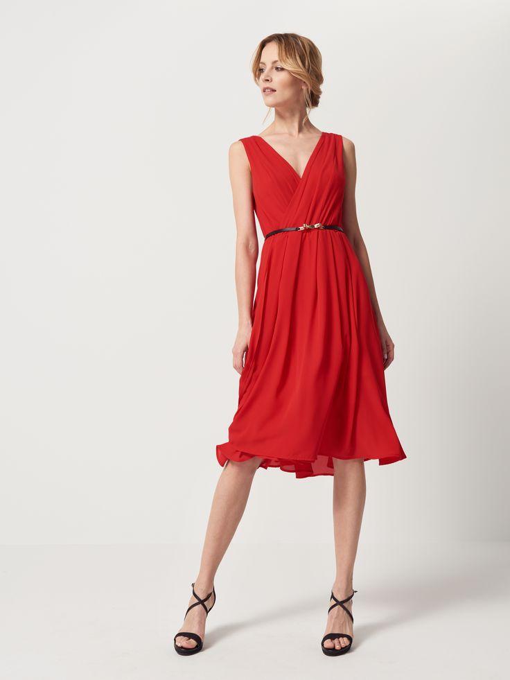 Sukienka z kopertowym dekoltem, SUKIENKI, KOMBINEZONY, czerwony, MOHITO