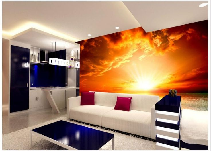 Home Decoration wallpaper bathroom Sea Red Sun Landscape Oil Painting Living Room TV Backdrop 3d nature wallpapers #Affiliate