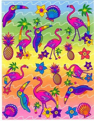 Lisa Frank Sticker Sheet Pink Flamingo Tropical Toucan Palm Trees Vtg 90s S166