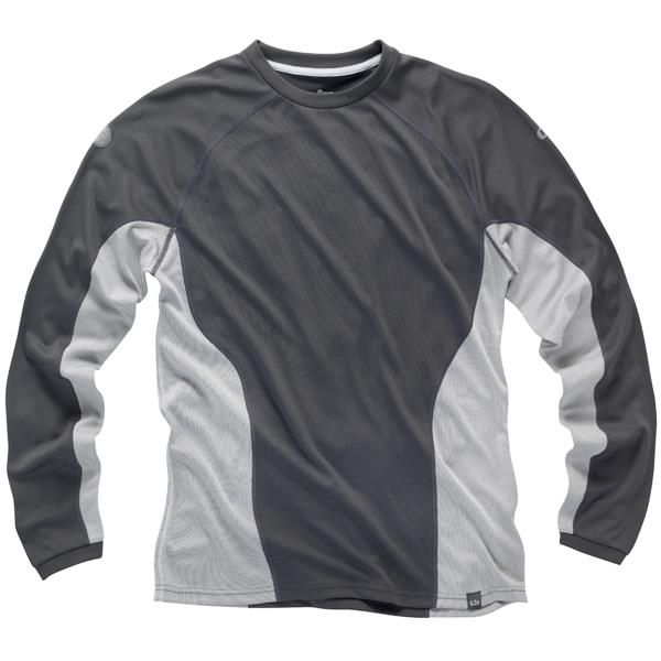 Gill i2 Mens Long Sleeve T-Shirt can be worn as technical layer or under a shell as a thermal layer with its highly efficient absorptive capacity after carbonisation and wicks the moisture away to keep you dry and fresh. Available in Ash in XS-XXL. #gill #sailing #sailing top #technicaltop