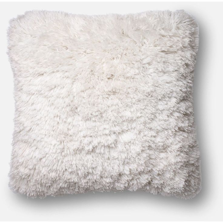Loloi, Fluffy And Shaggy Throw Pillow, Gray, Ivory, Navy And Taupe