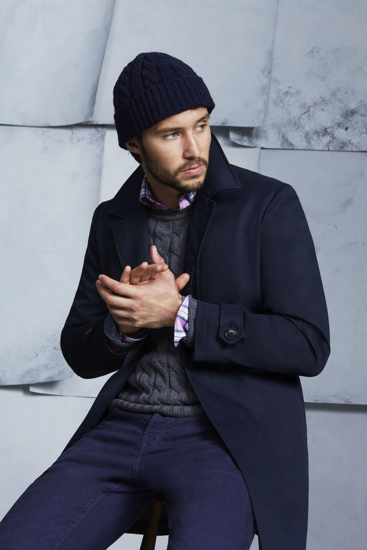 Coventry Navy Coat; Beuler Grey Knit; Huffington Pink Shirt; Freeman Blue Jean
