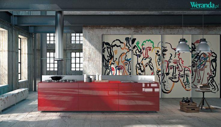 Nowoczesna kuchnia z graffiti #kuchnia #nowoczesna #salon #kuchenny #aneks #inspiracje #pomysły  #salon #dom #mieszkanie #wnętrze #mieszkania #wnętrza #szafki #stół #szkło #drewno #kafelki #płytki #terakota #wodoodporny #piękna #aranżacje #projekty #aranżacja #projekt #pomysł #urządzanie  #kitchen #ideas #inspiration #house #big #villa #glamour #style #interior #project #architecture #design