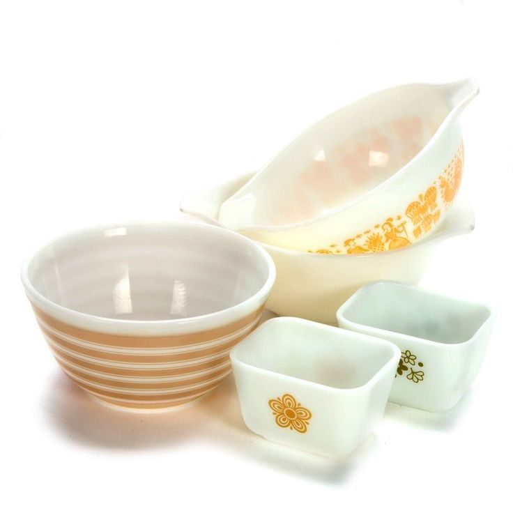 Pyrex Bowls and Dishes, orange amish butterprint, for sale with Everything But The House
