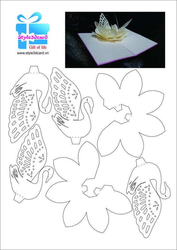 Открытка киригами цветы схемы и описание край