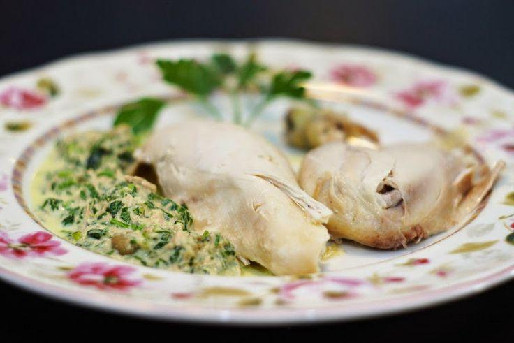 Pollo alla messinese (Höns med tonfisk- och kaprissås) Sicilianskt recept.