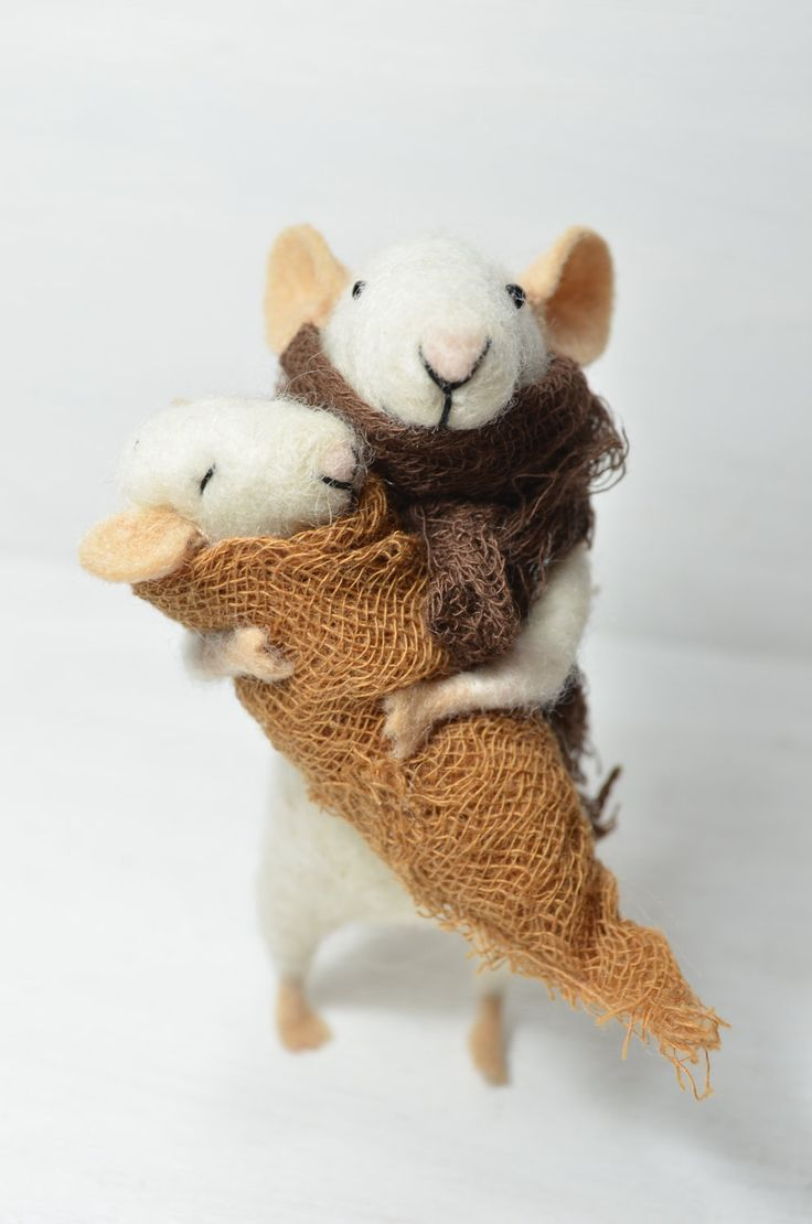 The mother and baby - unique - needle felted ornament animal, felting dreams by johana molina