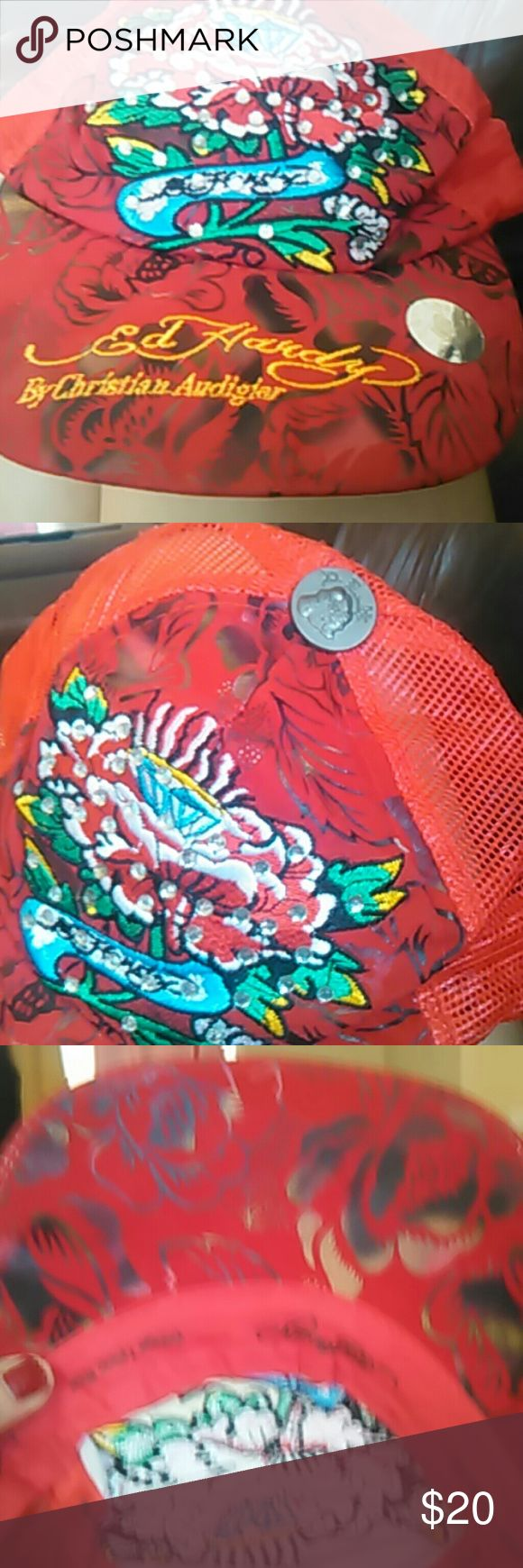 Don ed hardy hat Don  Ed Hardy red hat with design by Christian Audigiar adjustable hat ed hardy Christian Audigiar  Accessories Hats