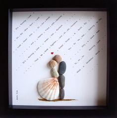 Unique cadeau de mariage - cadeau de fiançailles - Noël cadeaux - du Couple cadeau - cadeau damour - Bride and Groom cadeau - Art de galets pour