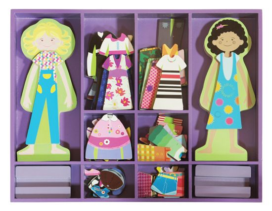 MUÑECAS MAGNÉTICAS PARA VESTIR LU Y SU (23,90 €) ¡60 piezas de madera! #juegosmagneticos #muñecasmagneticas  http://www.babycaprichos.com/munecas-magneticas-para-vestir-lu-y-su.html