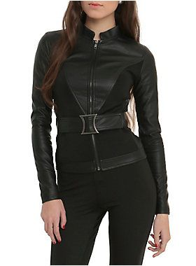 "<p>Black faux leather jacket with attached belt. Lining with a ""My Past is My Own"" Black Widow logo design.</p> <ul> <li>100% PU</li> <li>Wipe with damp cloth</li> <li>Imported</li> <li>Listed in junior sizes</li> </ul>"