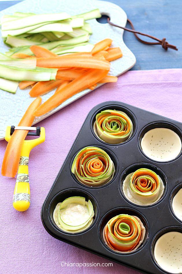Crostatine a spirale zucchine e carote