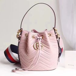 Gucci GG Marmont Leather Bucket Bag 476674 Pink  9146ea0efb0e7