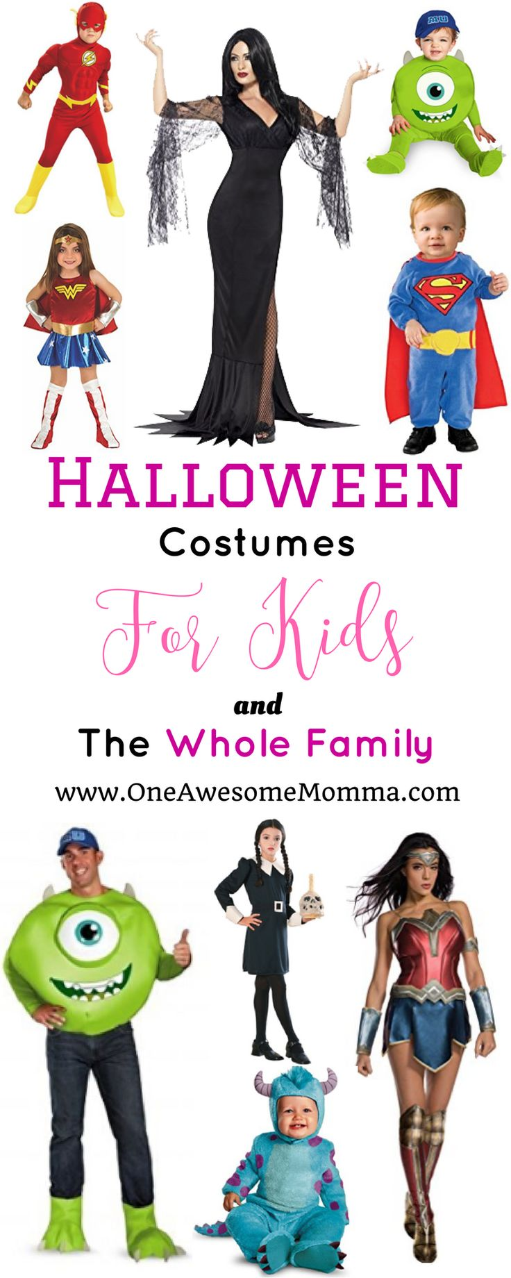 Looking for halloween costumes ideas? This post has both practical halloween costumes & halloween costumes for kids & the whole family. | family halloween costumes | family halloween costumes with baby | family halloween costumes with toddler | family halloween costumes with kids | baby halloween costumes | toddler halloween costumes | kids halloween costumes | addams family costume | justice league costumes | wonder woman costume | monsters inc costumes | inside out costume