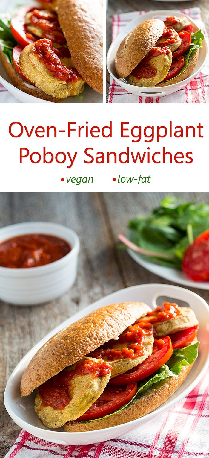 Oven-Fried Eggplant Poboy Sandwiches: The cornmeal batter makes these eggplant slices crunchy without any added fat. 100% vegan!