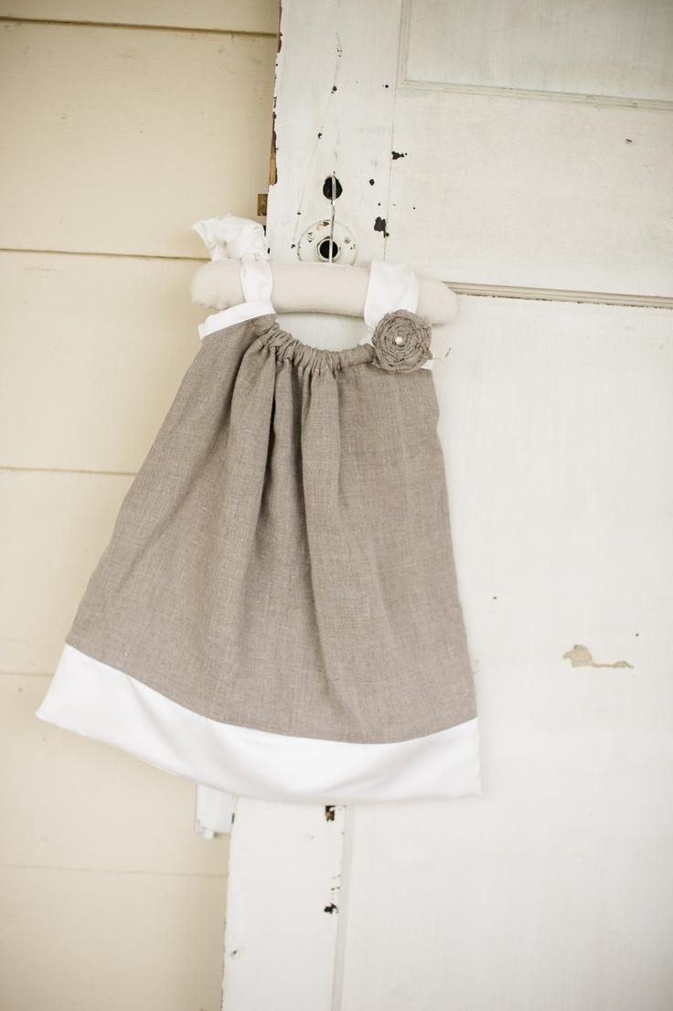 Flower Girl Dress- Linen and Satin Pillowcase Dress- Size NB to 18 mo.