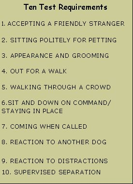 canine good citizen test items | Text Box: Ten Test Requirements1. ACCEPTING A FRIENDLY STRANGER2 ...