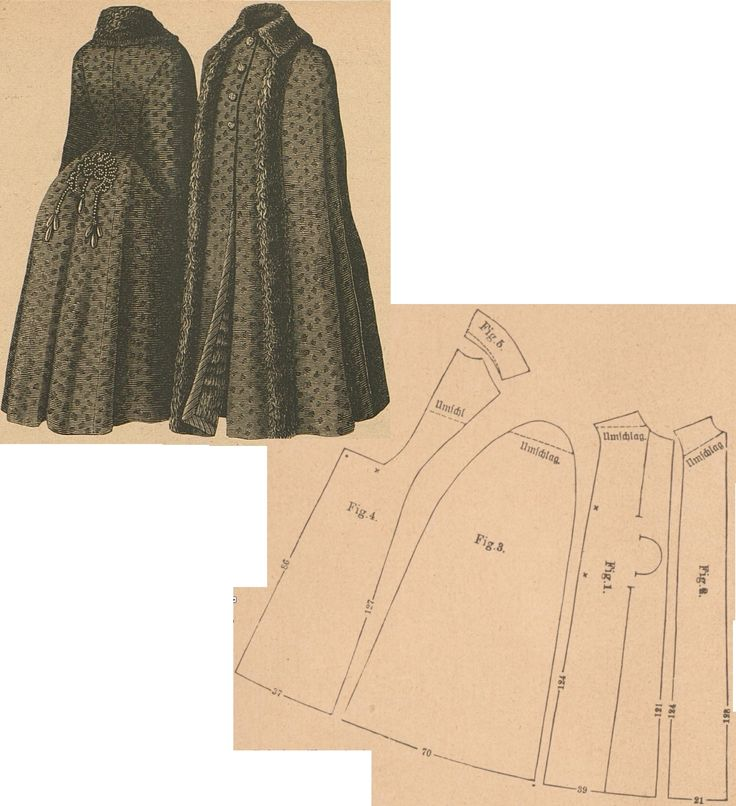 Der Bazar 1886: Wintertime cape from black printed woollen with fur and passemanterie adornments (add wadding and vair fur lining); 1. under front part, 2. over front part, 3. sleeve gore, 4. back part in half size, 5. rolled collar in half size