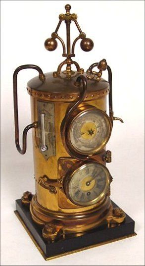 Ca.1890, FRENCH ''VERTICAL STEAM BOILER CLOCK'': From the Industrial Series of clocks. The boiler has pipes and gauges, and the 8-day platform clock and aneroid barometer are set in the side of the round boiler. The fly-ball governor at top is driven by a separate movement. Clock not working. Height 14''.