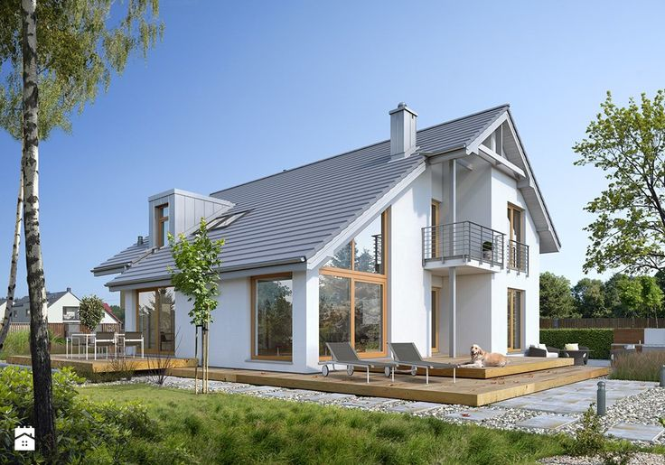 DOSKONAŁY 1 - kompaktowy dom z dwuspadowym dachem - Duże jednopiętrowe domy jednorodzinne z dwuspadowym dachem murowane, styl nowoczesny - zdjęcie od DOMY Z WIZJĄ - nowoczesne projekty domów