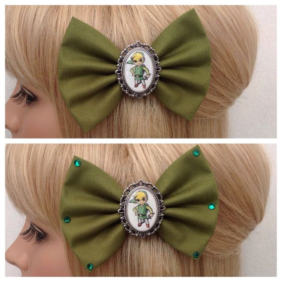 Link hair bow clip rockabilly psychobilly by GrimAndProperDesigns