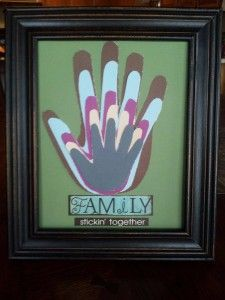 Family Picture Craft-you could do this with pictures of the grandkids and trace out their hands. Or do one long picture with each family (yours Tom ect) in a grouping with a family pic as the last hand or do feet for your dad?