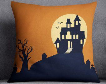 Copertura del cuscino di Halloween, Castello, pipistrello, Haunted, cuscino di testo personalizzato, personalizzato, al chiaro di luna, Luna, Spooky, 20x20, 16 x 16, regalo, decorazione interni