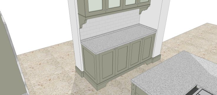 Kitchen design in cape Town, 3D rendering. Kitchen finished in hand painted supawood. By Andre de Villiers Architects.