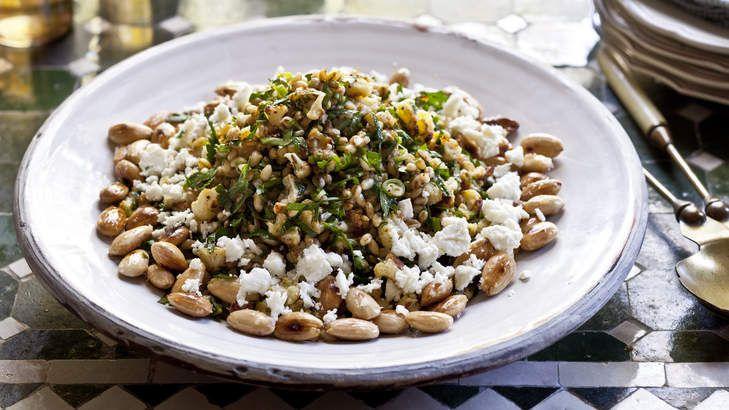 Barley, roasted cauliflower, almond and feta salad.