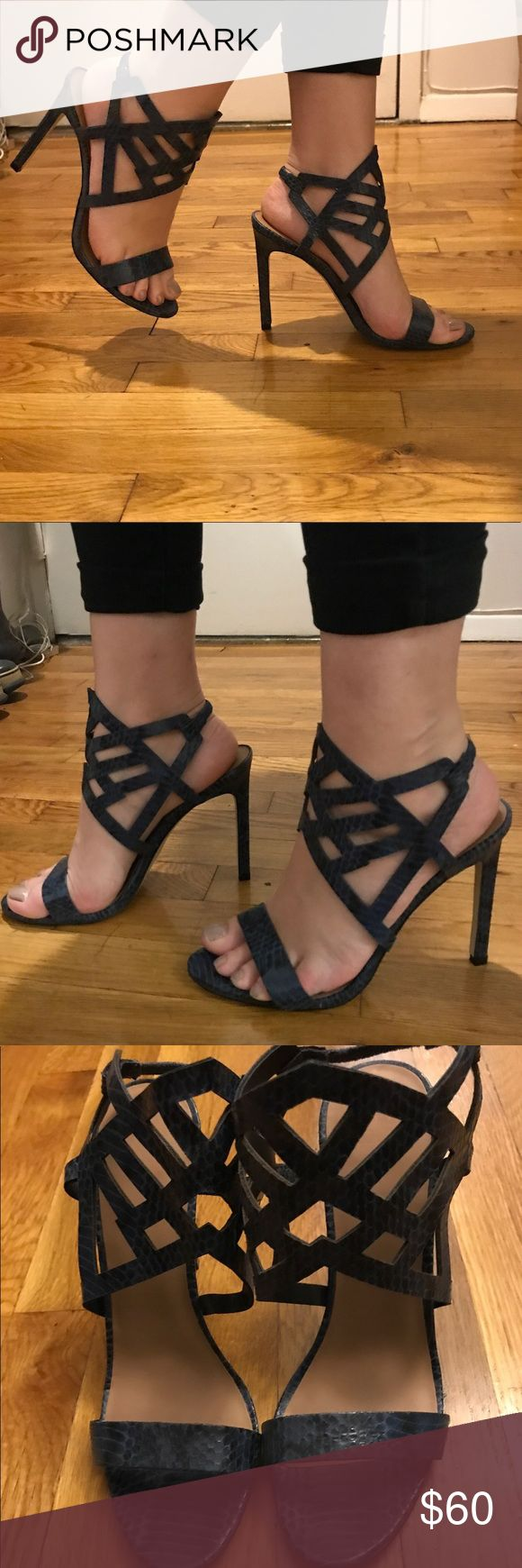 NEW AND UNWORN fifth city shoes New and unworn fifth city cage strappy shoes in blue snake print 🐍 price negotiable no trades! Saks Fifth Avenue Shoes Heels