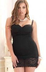 Plus Size Mini Dress With Lined Cup And Lace