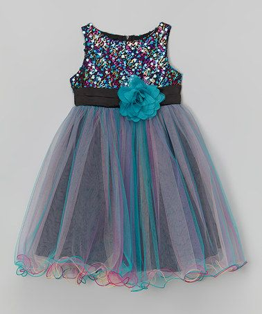 Look what I found on #zulily! Teal Sequin Overlay Dress - Infant, Toddler & Girls #zulilyfinds