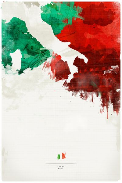 *** The iconic Italian colours with the Iconic italian boot. I like these bold splases of colours and negative silhouette. Italy Art Print