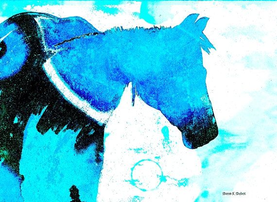 Blue Folk Art Horse Mixed Media Painting Equine by GrayWolfGallery