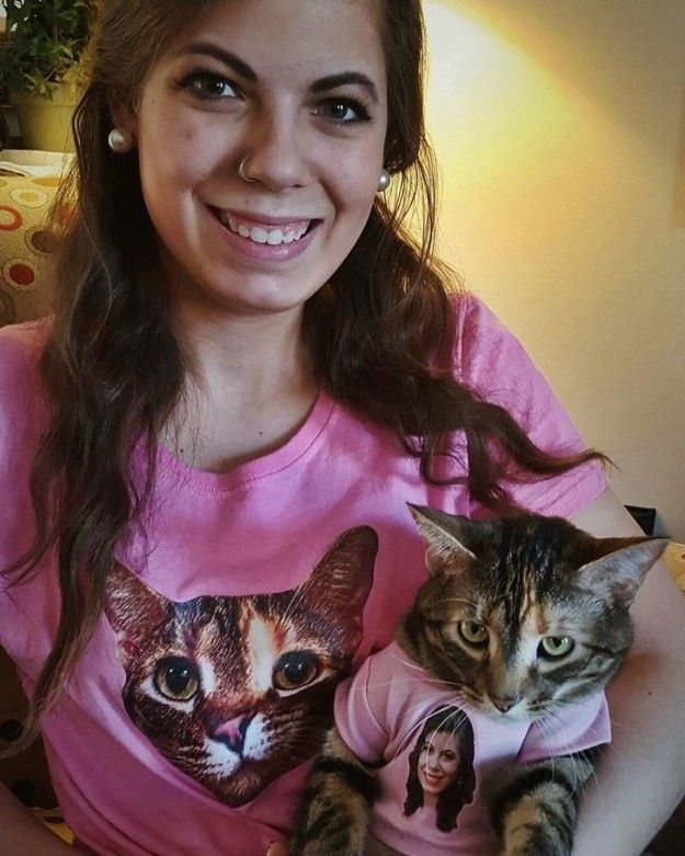 This lady and her cat with matching shirts OF EACH OTHER: | 17 People Who Clearly Love Their Pets More Than Humans