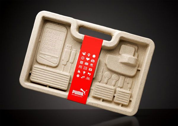PUMA Phone Packaging / One-piece moulded pulp container is made from 30 percent recycled newspaper and 70 per cent corrugated cardboard off-cuts, air dried to minimise energy in production. It even has a handle so you won't need a bag, and don't worry about it getting wet as it's completely waterproof too.