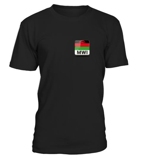 # Malawi Flag on left chest T-Shirt .  MalawiFlag proud on left chest