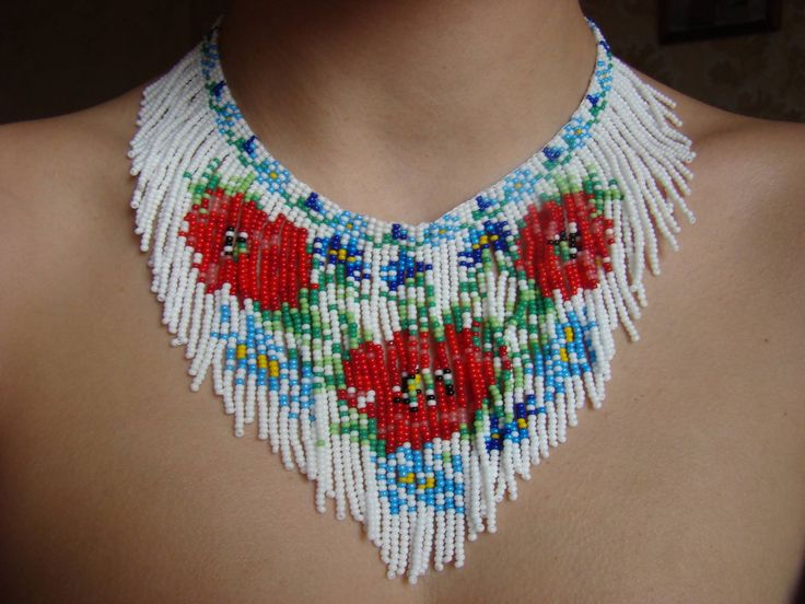 Red poppies Beaded necklace Flower necklace White necklace