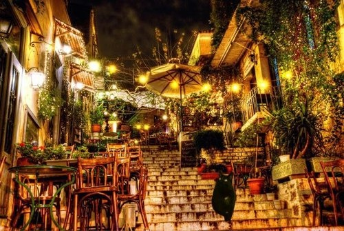 Here I am in the Plaka (the oldest neighborhood in Athens) winding down after my trip to the acropolis to visit the Parthenon. I will rest here before my very important meeting with the Greek feline army at the top of the isle of Santorini. Hail to the ferocious feline!   Love, Tristan