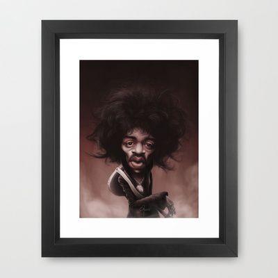 #JimiHendrix Framed Art Print by Sant Toscanni - $35.00