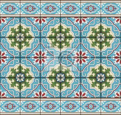 Sticker Naadloze patroon van tegels en grens. Marokkaans, Portugees, Azulejo…
