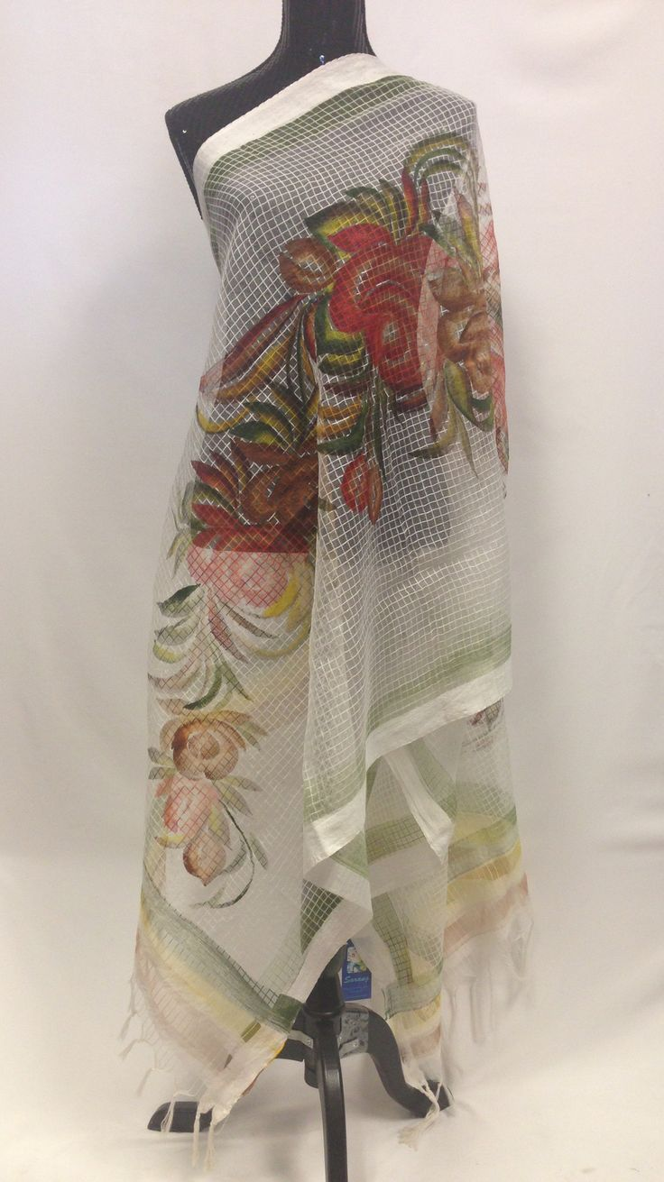 Handpainted Cotton Dupatta With Beautiful Floral Painting- Off White