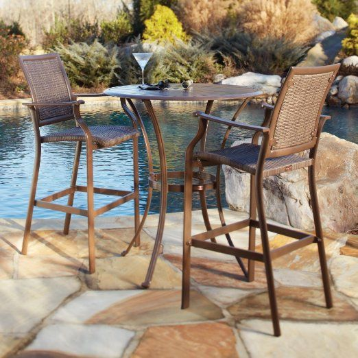 Panama Jack Island Cove Woven Slatted Bar Height Patio Set