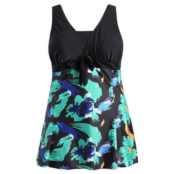 Bow Tied Plus Size Skirted Swimsuit - 5xl Mobile