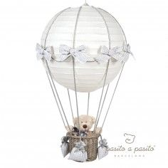 Lampe montgolfière vichy gris - Pasito a pasito