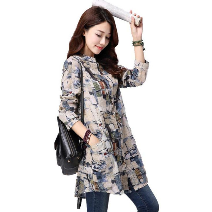 Cheap long sleeves women blouse, Buy Quality women blouses directly from China tops for women Suppliers: Women Tops 2016 New Autumn Casual Printed Cotton Linen Long Sleeve Women Blouses Blusas Vintage Shirt Long Tunic Tops for Women