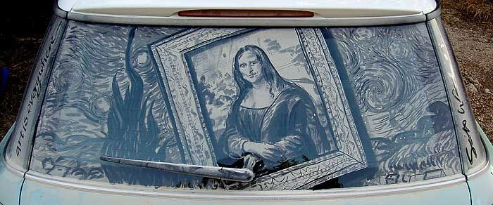 """Dirty car art: Mona Lisa/Starry Night 