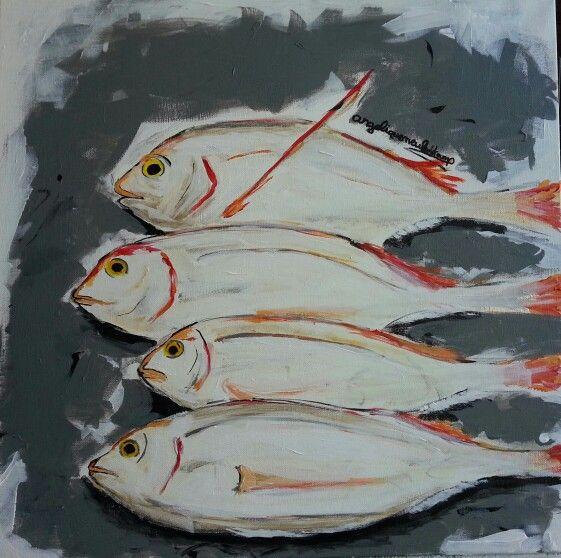 Vissen Angelique Meulenkamp #fish art geschilderd op 3D doek 50 x 50 cm vissen #kunst